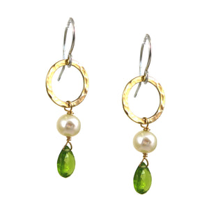 Peridot & Pearl Gold Earrings - karen-morrison-jewellery