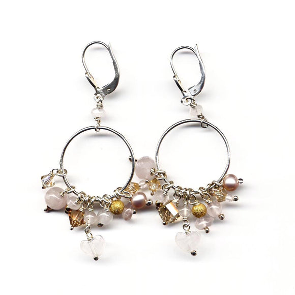 Rose quartz cluster Earrings - karen-morrison-jewellery