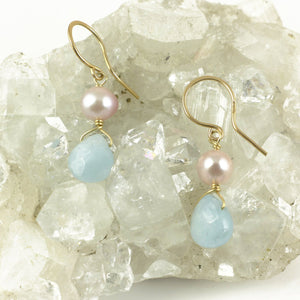 Aquamarine 9ct Gold Earrings - karen-morrison-jewellery