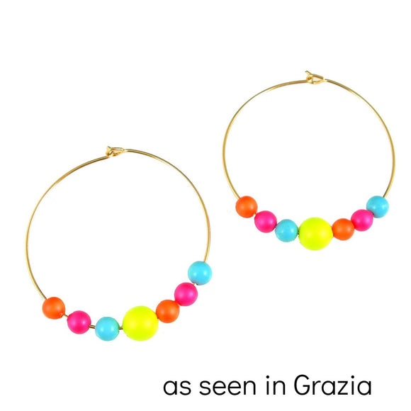 Neon Lights swarovski crystal hoop earrings - karen-morrison-jewellery