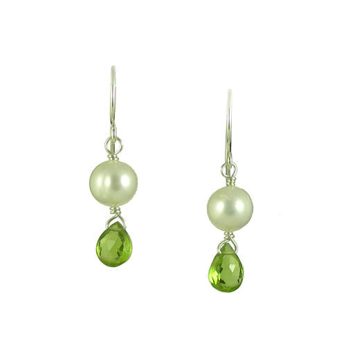 Peridot & Pearl Silver Earrings - karen-morrison-jewellery
