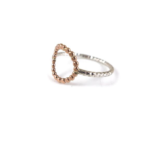 Silver & Gold Circle Ring - karen-morrison-jewellery