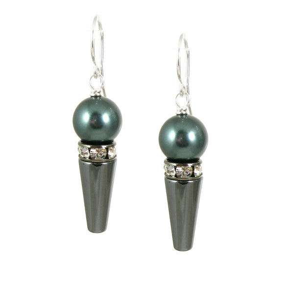 Swarovski Pearl & Hematite Earrings - karen-morrison-jewellery