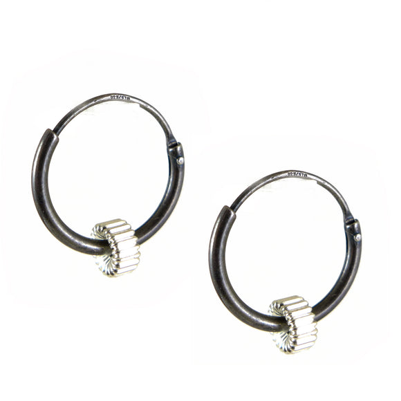 Oxidised Silver Hoop Earrings - karen-morrison-jewellery