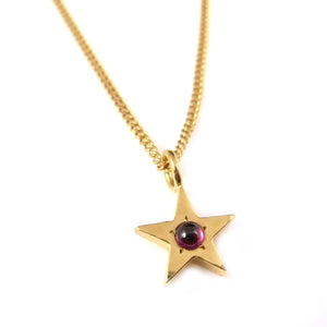 Gold Star Pendant with Garnet - karen-morrison-jewellery