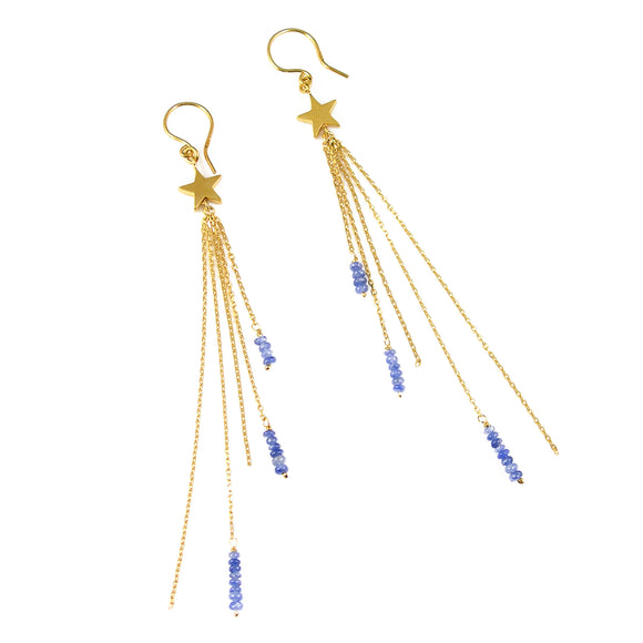 Star and Sapphire Long Earrings - karen-morrison-jewellery