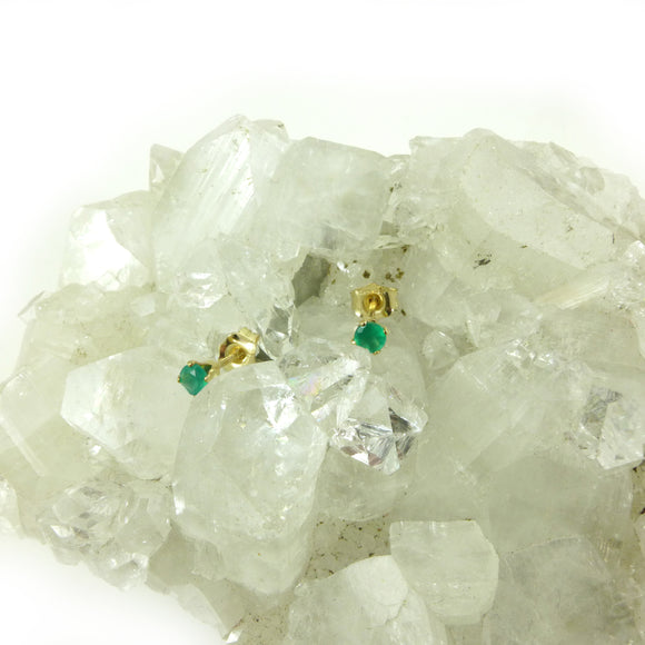 Green Agate Stud Earrings