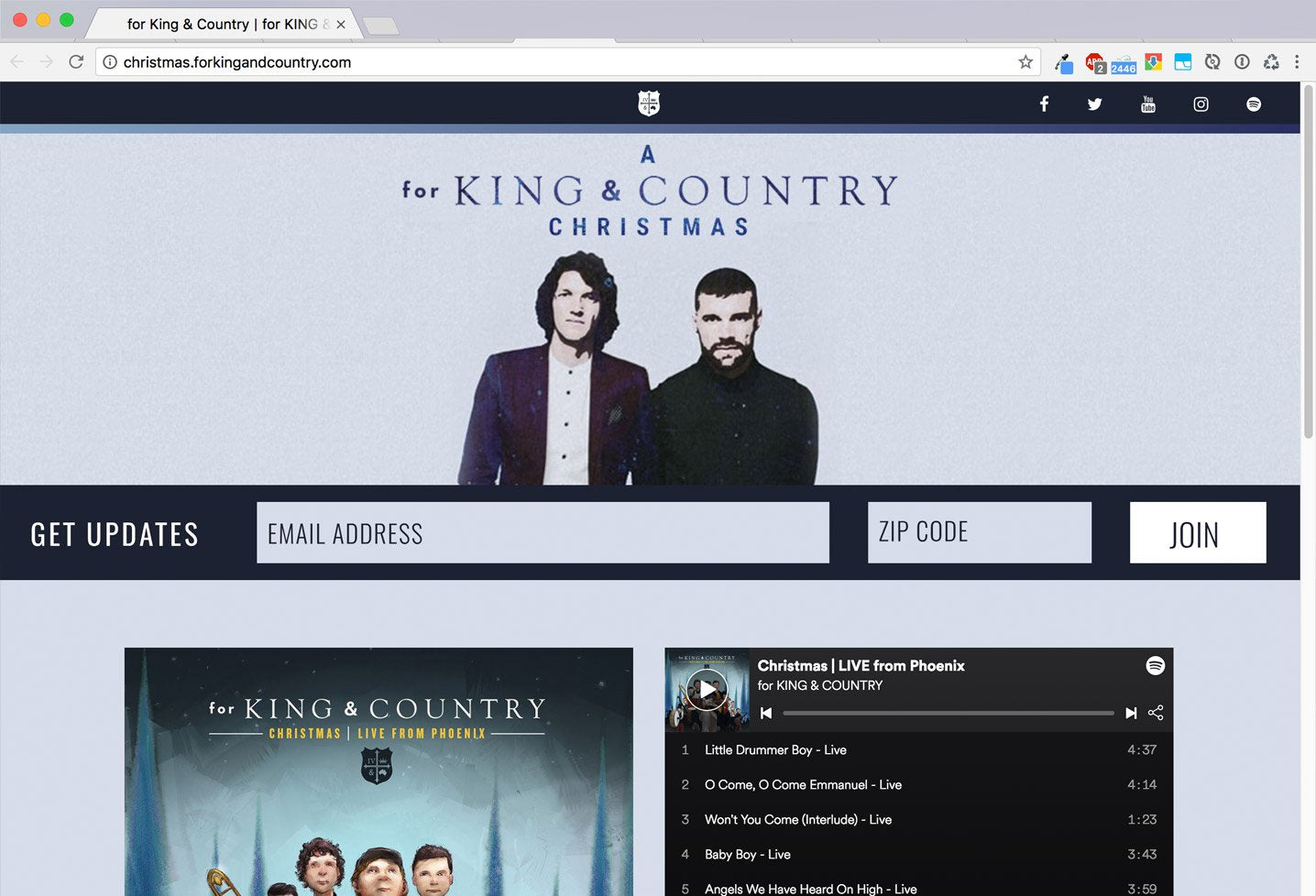 for KING & COUNTRY Christmas Album/Tour Launch