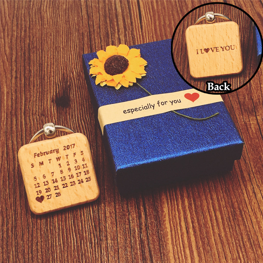 Love Anniversary Date Wooden Rustic Key Chain Coupe Valentine S Day