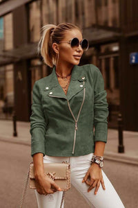 SUEDE JACKET WITH GOLDEN BUTTONS