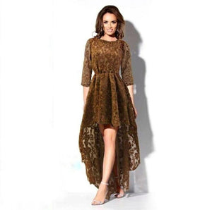 LONG DRESS WOMAN MACRAME ANGELICA WITH TAIL