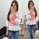 WOMAN SWEATER BICOLOR BUTTONS RUSH BODY