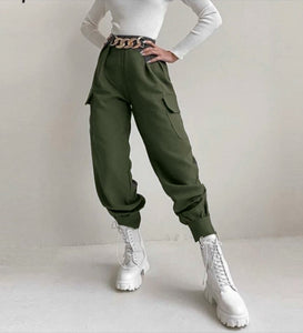 MILITARY GREEN CHAINS PANTS