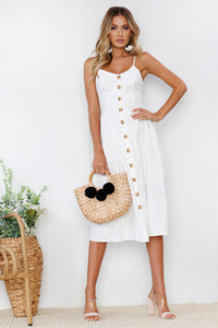 HIGH WAISTED SUMMER DRESS WITH WOOD BUTTONS