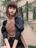 TOP WOMAN TULLE SLEEVE PUFF POIS