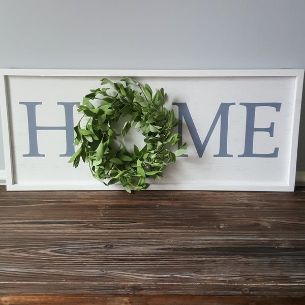 "Large ""Home"" Sign with Wreath"