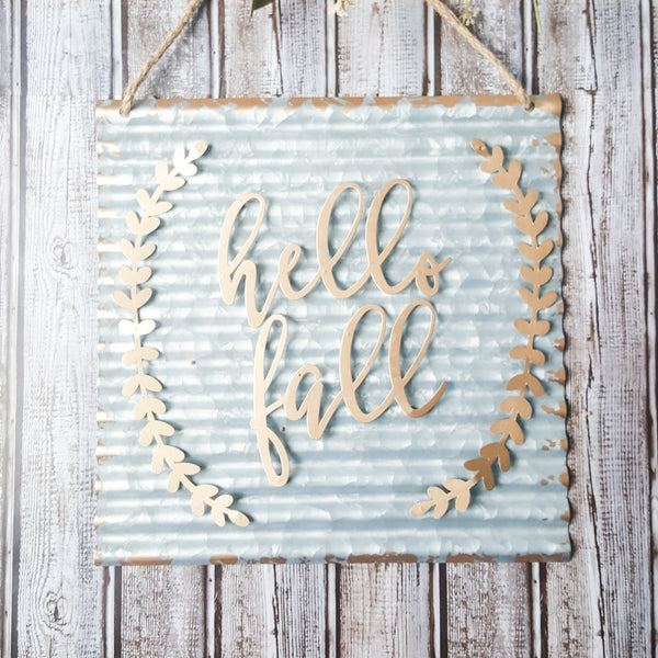 """Hello Fall"" Corrugated Metal Sign"