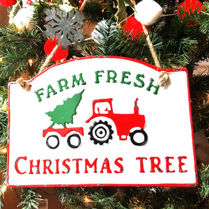 """Farm Fresh"" Enamel Christmas Sign"