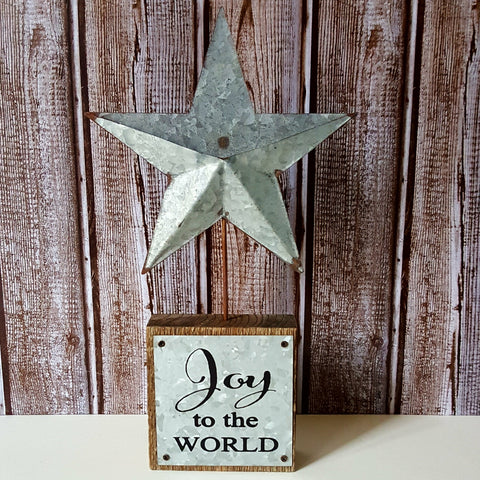 """Joy to the World"" Barnwood and Metal Star"
