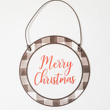 "Load image into Gallery viewer, ""Merry Christmas"" Plaid Ornament"