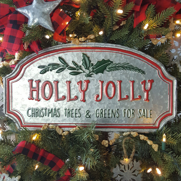 """Holly Jolly"" Metal Sign"