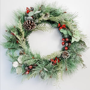 Glittered Evergreen and Berries Wreath