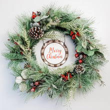 Load image into Gallery viewer, Glittered Evergreen and Berries Wreath