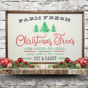 """Farm Fresh Christmas Trees"" Embroidered Sign"
