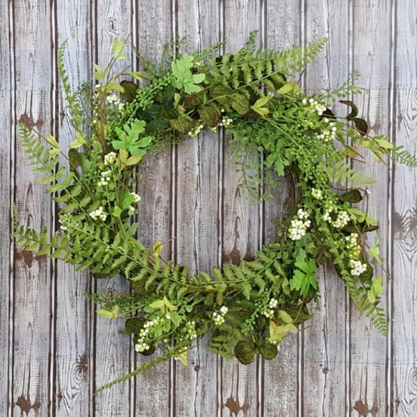 Mixed Green with Berries Wreath