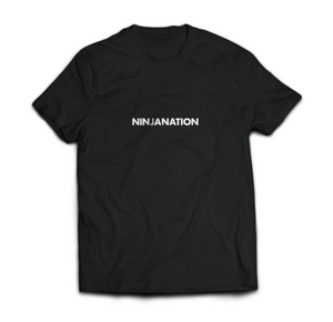 "Ninja Nation Black T-Shirt with ""Ninja Nation"" on the front"
