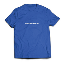 "Ninja Nation Blue T shirt with ""Ninja Nation"" text on the front"