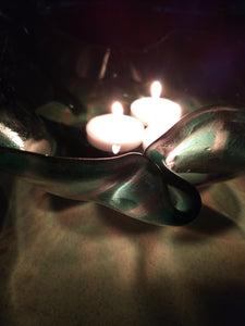 Art Glass Bowls - Green Checked-with candle