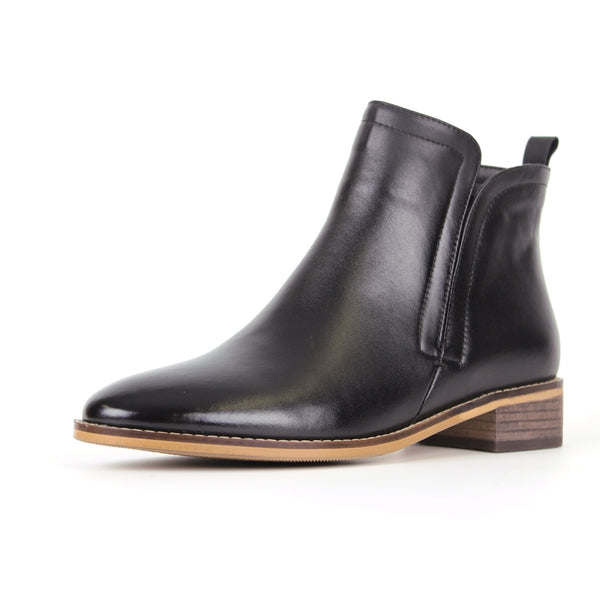 Modemoven Simplicity-Designed Leather Ankle Boots (Black) - Modemoven