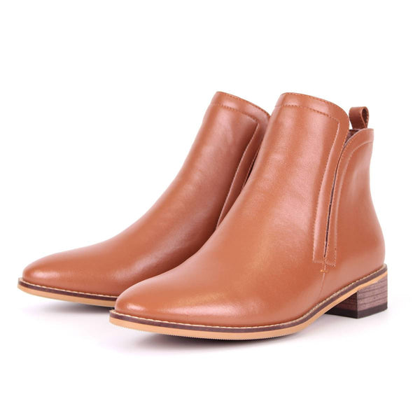 Modemoven Simplicity-Designed Leather Ankle Boots (Brown) - Modemoven