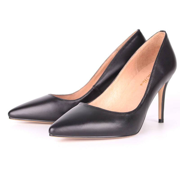 Modemoven Sheepskin Leather High Heels (black)