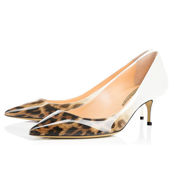 Modemoven Pointed Toe Heels Leopard Style (White/Gray)
