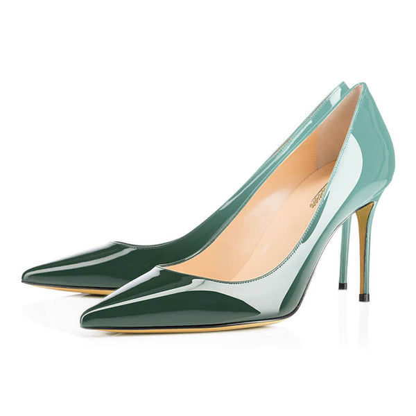 Modemoven Pointed Toe Pumps (Jade-Green/Sky-Blue)