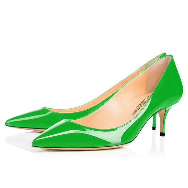 Modemoven Pointed Toe Kitten Heels (Green/Blue/Yellow)