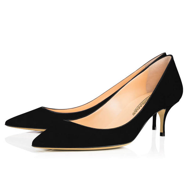Modemoven Suede Leather Pointed Toe Kitten Heels