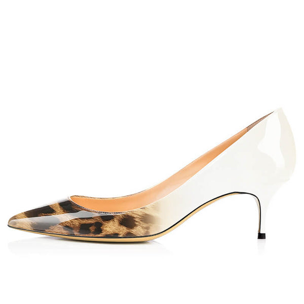 Modemoven Pointed Toe Heels Leopard Style (White/Gray) - Modemoven