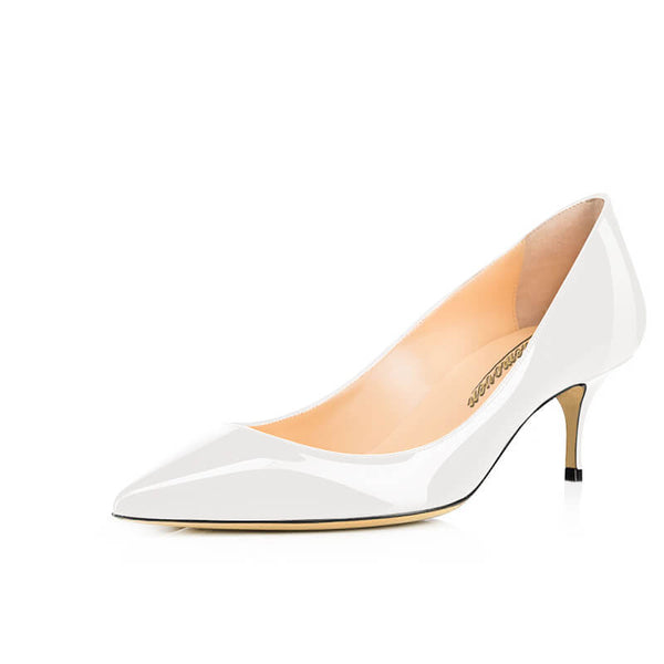 Modemoven Pointed Toe Kitten Heels (White/Black/Nude) - Modemoven