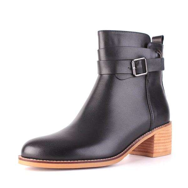 Modemoven Leather Ankle Boots with Metal-buckle Decor (black) - Modemoven