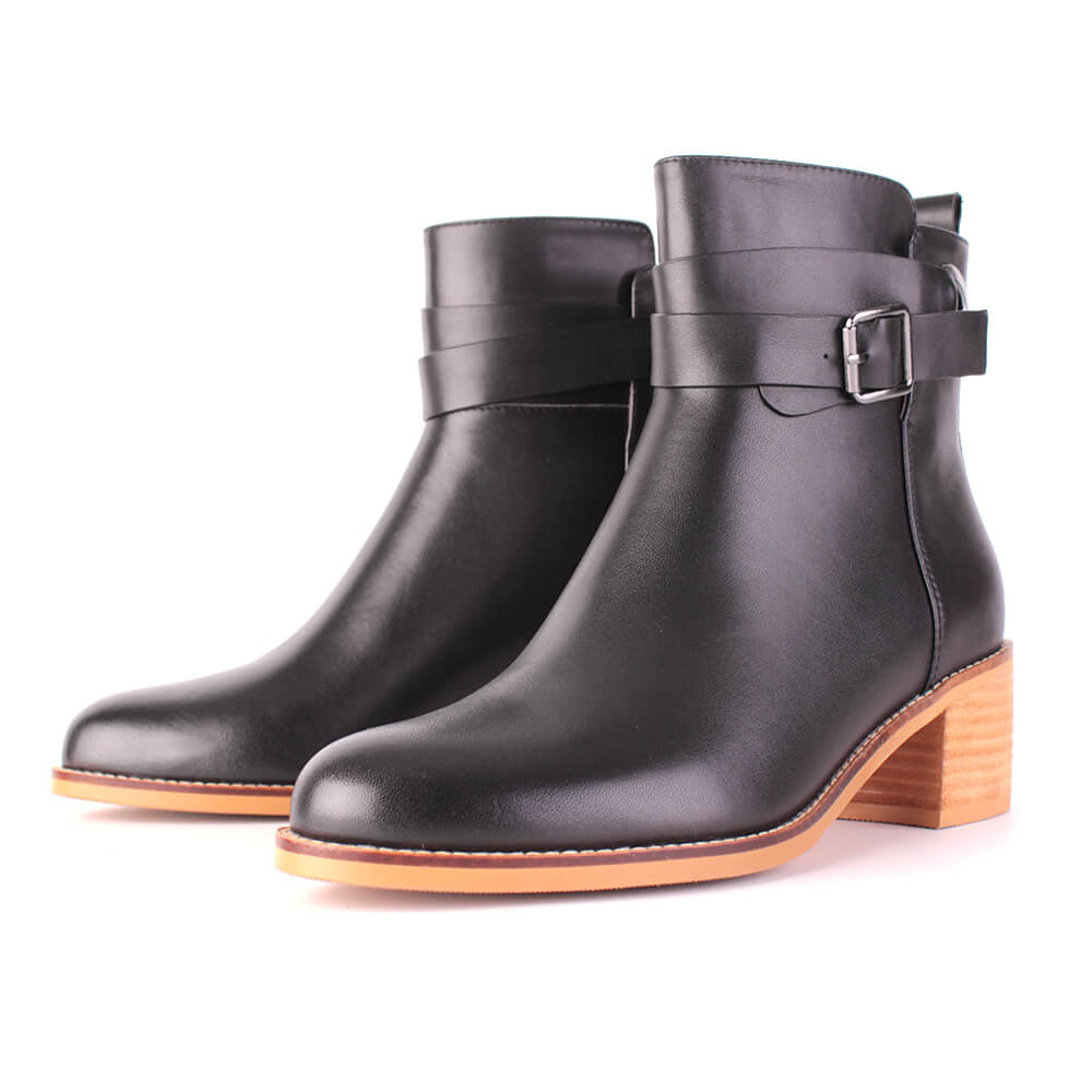 Modemoven Leather Ankle Boots with Metal-buckle Decor (black)