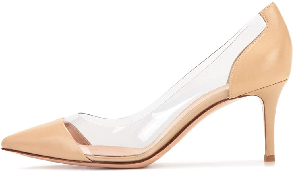 PVC Pumps | 8CM Pointed Cap Toe Transparent Stilettos