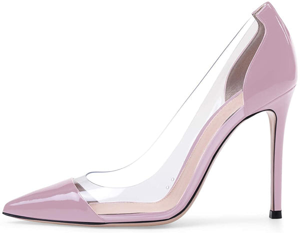 PVC Pumps | 10cm Pointed Cap Toe Transparent PVC Stilettos