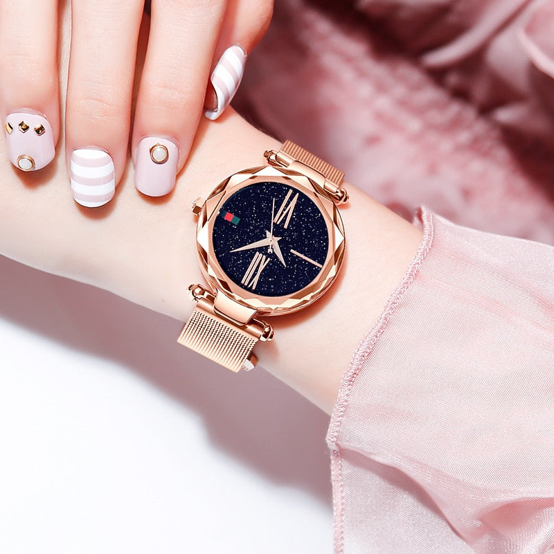 Luxury Rose Gold Women Watches Minimalism Starry sky Magnet Buckle Fashion Casual Female Wristwatch Waterproof - Modemoven