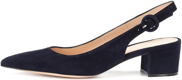 "Slingback Ankle Buckle Chic Pumps,Classy Block Heel 2"" Heel for Office Dress"