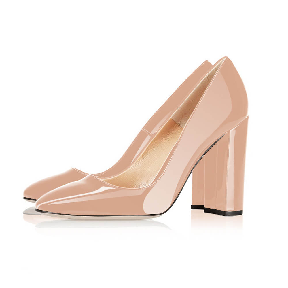Modemoven Block High Heels  (Nude/Black/White) - Modemoven