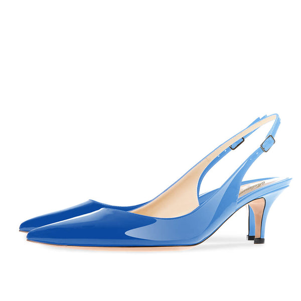 Modemoven Pointed Toe Slingback Pumps (Blue/Green/Purple)