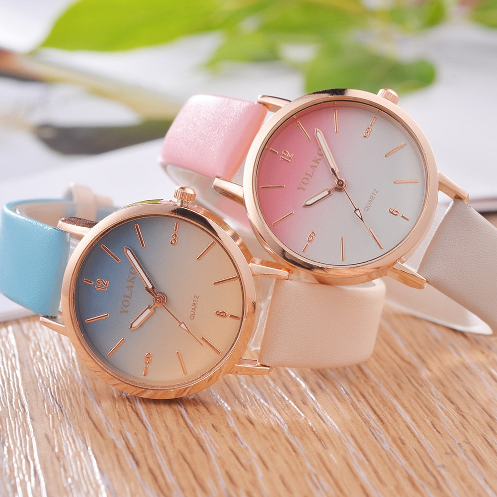 Brand Leather Quartz Women's Watch Ladies Fashion Watch Women Wristwatches Clock relogio feminino masculino W50 - Modemoven